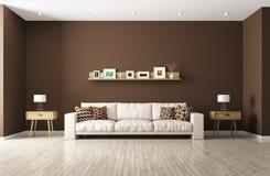 Modern vardagsrum med den beigea tolkningen för soffa 3d Royaltyfria Bilder