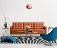 Modern vardagsrum med den orange lädersoffan Royaltyfri Fotografi