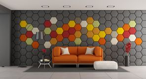 Modern vardagsrum med den orange soffan Royaltyfria Foton