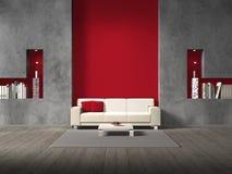 Modern vardagsrum med den rödbruna väggen Royaltyfria Foton