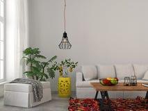 Modern vardagsrum med den vita möblemang och svartljuskronan Arkivbild
