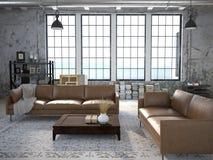 Modern vardagsrum med enorma fönster framförande 3d arkivbilder
