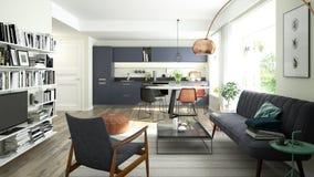 Modern vardagsrum med ett öppet kök Arkivfoton