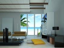 Modern vardagsrum med ett stort fönster som visar en strand