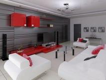 Modern vardagsrum med funktionellt möblemang stock illustrationer