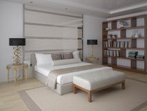 Modern vardagsrum med funktionellt möblemang royaltyfri illustrationer