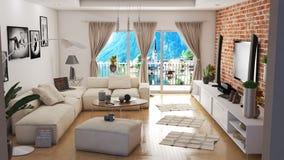 Modern vardagsrum med illustrationen för härlig sikt 3D royaltyfri illustrationer