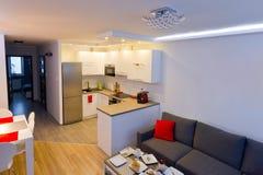 Modern vardagsrum med kök Royaltyfria Bilder
