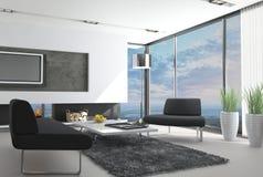 Modern vardagsrum med landskapsikt stock illustrationer
