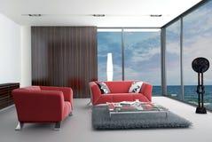 Modern vardagsrum med landskapsikt Arkivbild