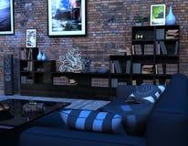 Modern vardagsrum med möblemang och många lättheter Royaltyfri Foto