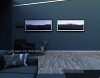 Modern vardagsrum med möblemang och många lättheter Royaltyfri Fotografi