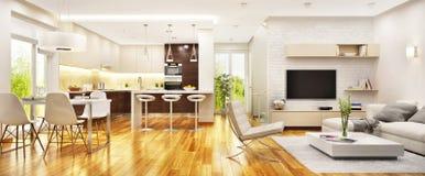Modern vardagsrum med modernt k?k royaltyfri foto