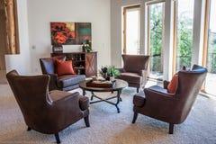 Modern vardagsrum med sikt Royaltyfri Foto