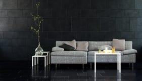 Modern vardagsrum med soffa- och sidotabeller vektor illustrationer