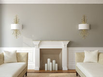 Modern vardagsrum med spisen. Royaltyfri Foto