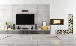 Modern vardagsrum med spisen Royaltyfri Fotografi