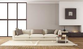 Modern vardagsrum med spisen Fotografering för Bildbyråer