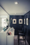 Modern vardagsrum med stångstil i tappningfärg Arkivfoton
