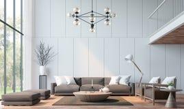 Modern vardagsrum med tolkningbild för mezzanine 3d Arkivbilder