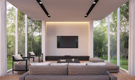 Modern vardagsrum med trädgårds- tolkningbild för sikt 3d Arkivfoton