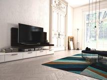 Modern vardagsrum med TV och hifiutrustning 3d Arkivfoto