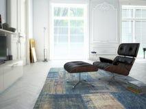 Modern vardagsrum med TV och hifiutrustning 3d Arkivfoton