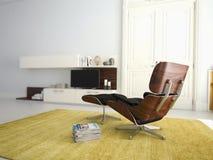 Modern vardagsrum med TV och hifiutrustning 3d royaltyfri foto