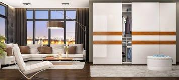 Modern vardagsrumdesign med glidning av garderoben royaltyfria foton