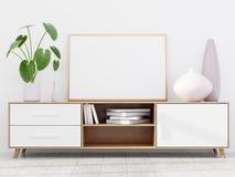 Modern vardagsruminre med en träskänk och en horisontalaffischmodell, 3D att framföra arkivbilder