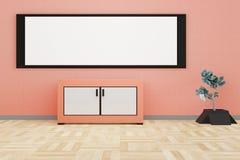 Modern vardagsruminre med ett stort vitt bräde på en orange vägg vektor illustrationer