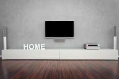 Modernt vardagsrum med TV:N arkivfoto