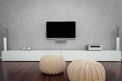 Modernt vardagsrum med TV:N Royaltyfria Bilder