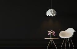 Modern vardagsruminre med svart tolkningbild för vägg 3d Royaltyfria Bilder