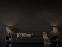Modern vardagsruminre med tom svart tolkningbild för vägg 3d Royaltyfri Foto