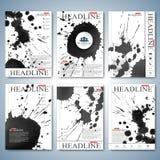 Modern vattenfärguppsättning av broschyren, reklambladet, häftet, räkningen eller årsrapporten i formatet A4 för din design också Royaltyfri Bild