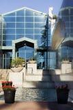 modern vattenfall för facade arkivbilder