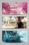 Modern vector abstract polygonal web banners. Set of low polygon web banners in three styles royalty free illustration
