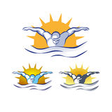 Modern Vector Abstract Swimming Logo Stock Images