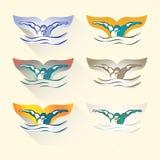 Modern Vector Abstract Zwemmend Embleem Royalty-vrije Stock Afbeelding