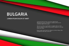Modern vector background, overlayed sheets of paper in the look of the Bulgarian flag, Made in Bulgaria royalty free stock photography