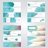 Modern vector banners with polygonal background Royalty Free Stock Photo