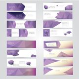 Modern vector banners with polygonal background Stock Images