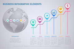 Modern vector business globalization infographic template with 3d world globe and charts Royalty Free Stock Photos