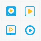 Modern vector colorful  flat video player icons Royalty Free Stock Photos