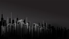 Free Modern Vector Dark Night City Horizon Scape Sky Scraper Background. Architectural Business Building Stock Photo - 123215860