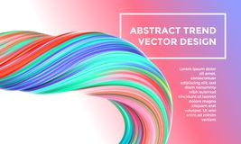 Modern vector digital painting abstract background. Creative vivid 3d flow paint wave. Trendy blue pink bright gradient paint. Modern vector digital painting Stock Images