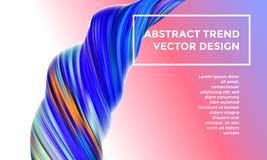 Modern vector digital painting abstract background. Creative vivid 3d flow paint wave. Trendy blue pink liquid banner template with bright gradient paint Stock Image