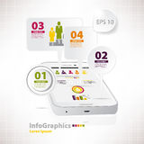 Modern vector elements for infographics with white smartphone Royalty Free Stock Photography