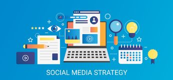 Modern vector flat gradient Social media strategy concept template banner with icons and text. Modern vector flat gradient Social media strategy concept banner Stock Photo